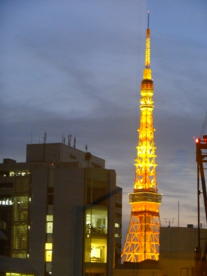 cool view of Tokyo Tower from our room at Mitsui Garden Hotel Shiodome Italia-Gai
